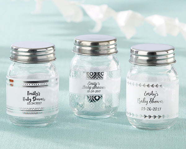 Load image into Gallery viewer, Personalized Mini Mason Jar - Silver Foil (Set of 12)