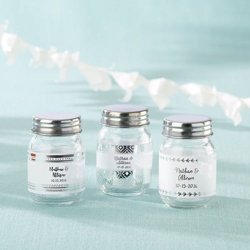 Personalized Mini Mason Jar - Silver Foil (Set of 12)