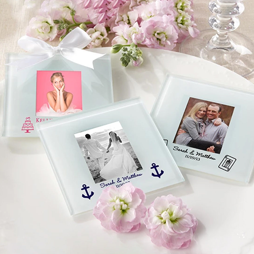 Personalized Frosted-Glass Photo Coaster - Wedding (Set of 12)