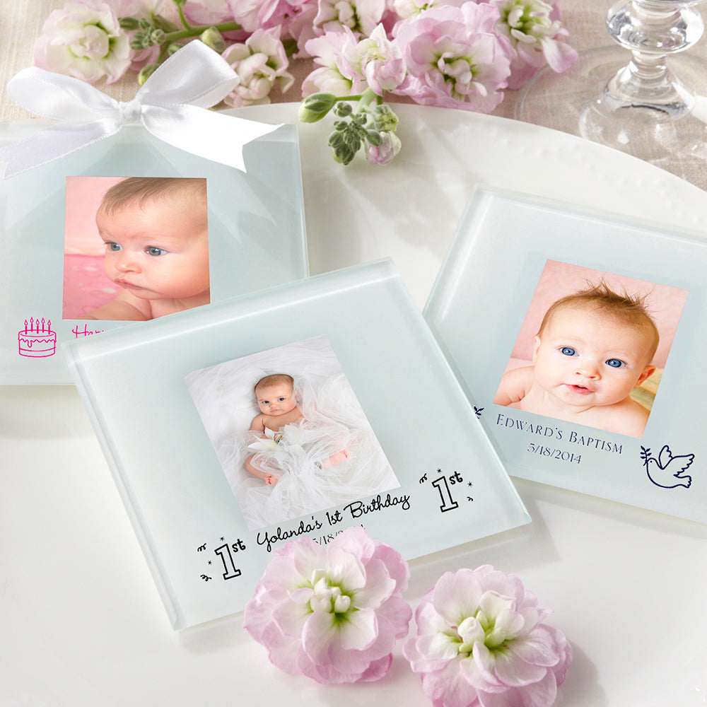 Personalized Frosted-Glass Photo Coaster - Baby Shower