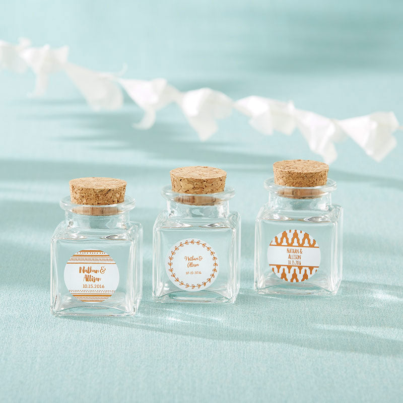 Petite Treat Square Glass Favor Jar - Copper Foil (Set of 12)
