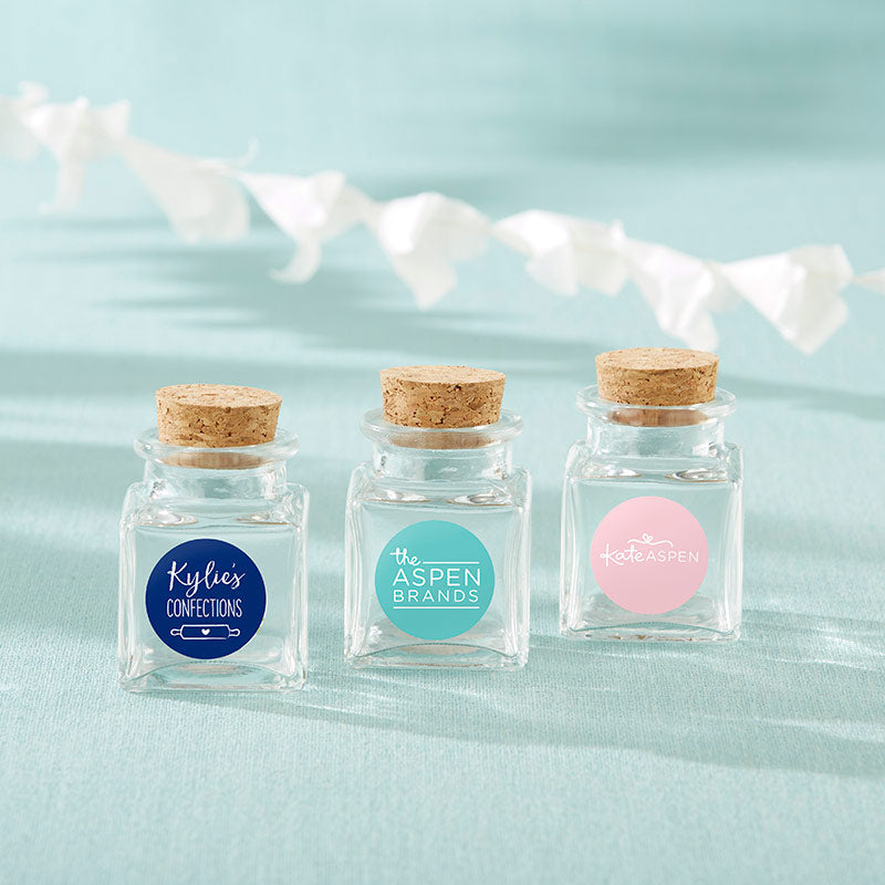 Personalized Petite Treat Square Glass Favor Jar - Custom Design (Set of 12)