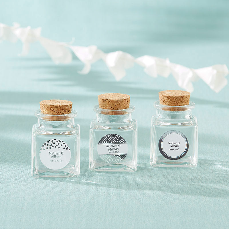 Load image into Gallery viewer, Petite Treat Square Glass Favor Jar - Silver Foil (Set of 12)