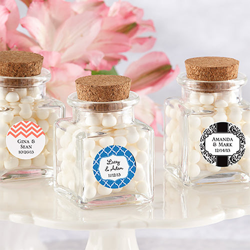 Personalized Petite Treat Square Glass Favor Jar - Wedding