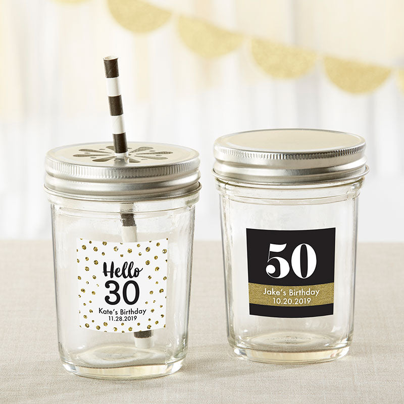 Personalized 8 oz. Glass Mason Jar - Milestone Birthday (Set of 12)