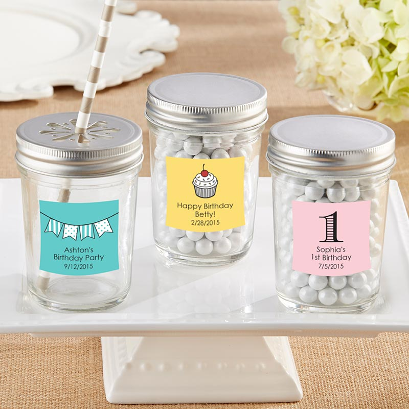 Personalized 8 oz. Glass Mason Jar - Birthday (Set of 12)