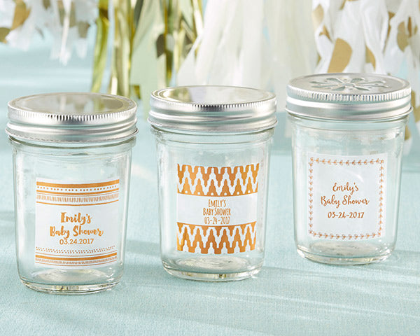 Personalized 8 oz. Glass Mason Jar - Copper Foil (Set of 12)