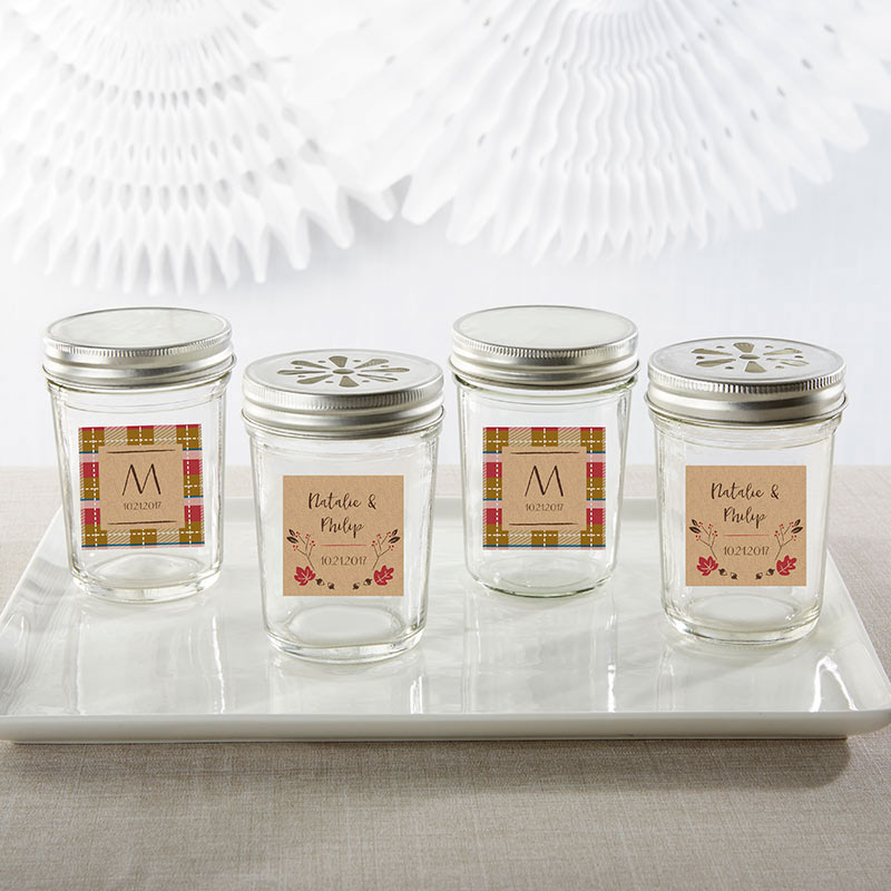 Personalized 8 oz. Glass Mason Jar - Fall (Set of 12)