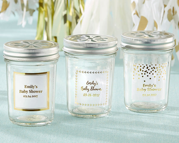 Personalized 8 oz. Glass Mason Jar - Gold Foil (Set of 12)