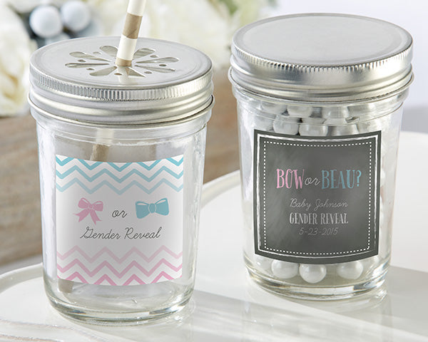 Personalized 8 oz. Glass Mason Jar - Gender Reveal (Set of 12)