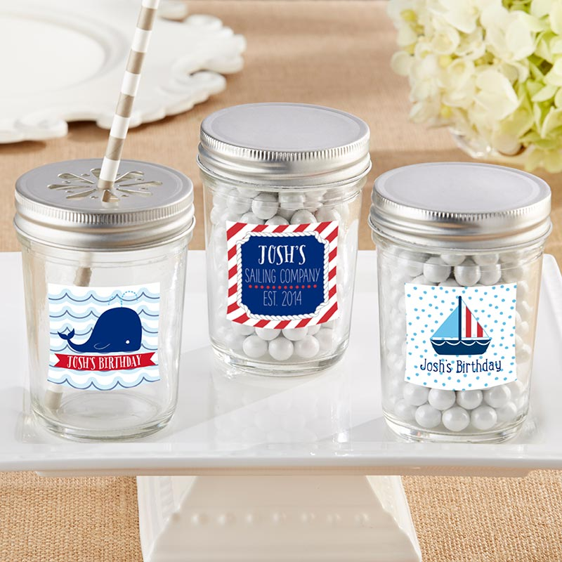 Personalized 8 oz. Glass Mason Jar - Nautical Birthday (Set of 12)