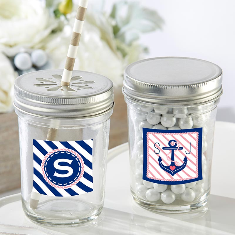 Personalized 8 oz. Glass Mason Jar - Nautical Bridal Shower (Set of 12)