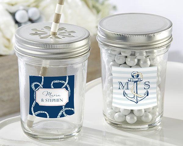 Personalized 8 oz. Glass Mason Jar - Nautical Wedding (Set of 12)