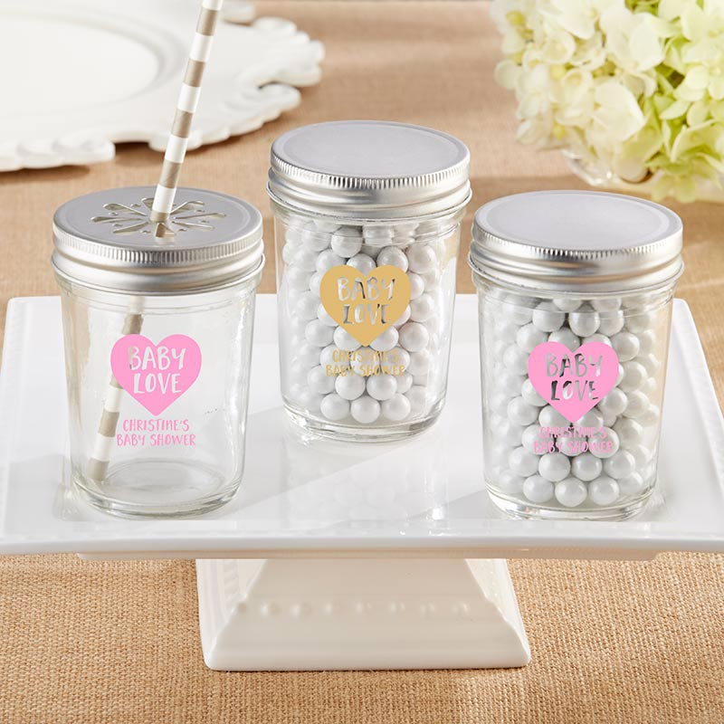 Personalized Printed 8 oz. Glass Mason Jar - Baby Love (Set of 12)