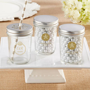 Personalized Printed 8 oz. Glass Mason Jar - Beach Tides (Set of 12)