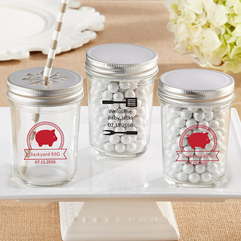 Personalized Printed 8 oz. Glass Mason Jar - BBQ (Set of 12)