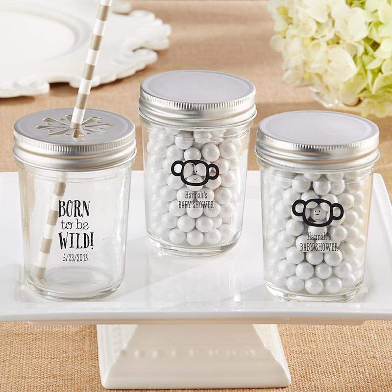 Personalized 8 oz. Printed Glass Mason Jar - Born To Be Wild