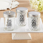 Personalized Printed 8 oz. Glass Mason Jar - Eat, Drink & Be Married (Set of 12)