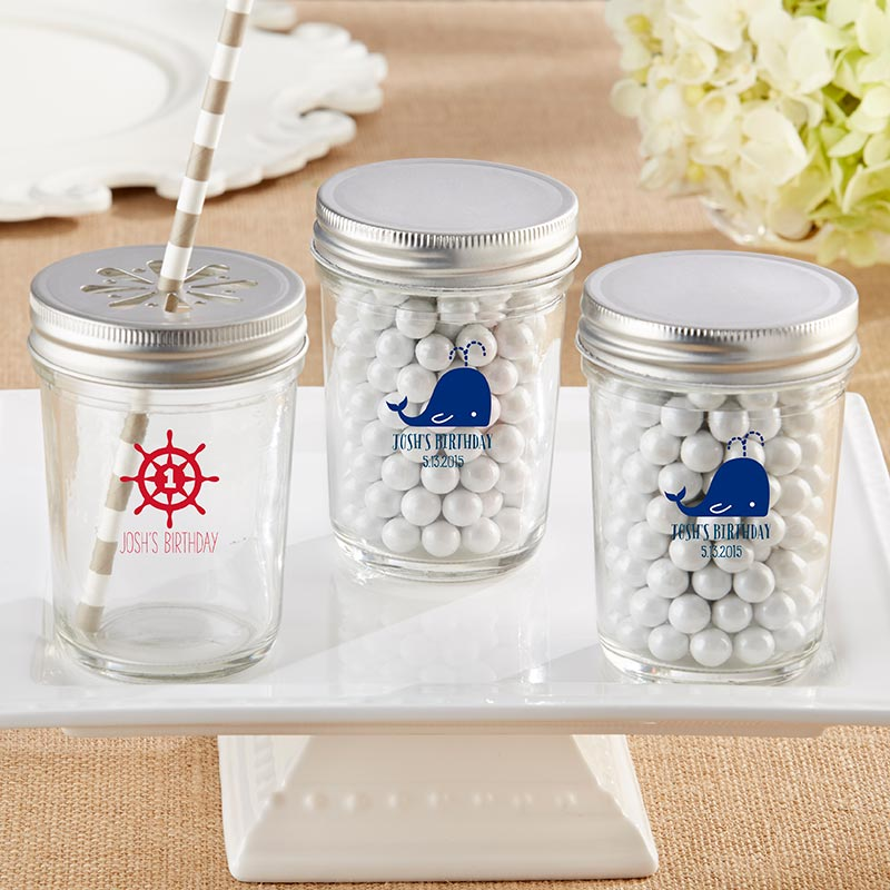 Personalized Printed 8 oz. Glass Mason Jar - Nautical Birthday (Set of 12)