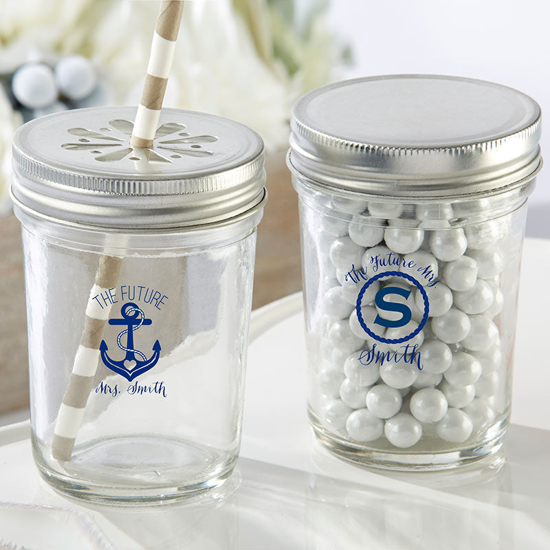 Personalized Printed 8 oz. Glass Mason Jar - Nautical Bridal Shower (Set of 12)