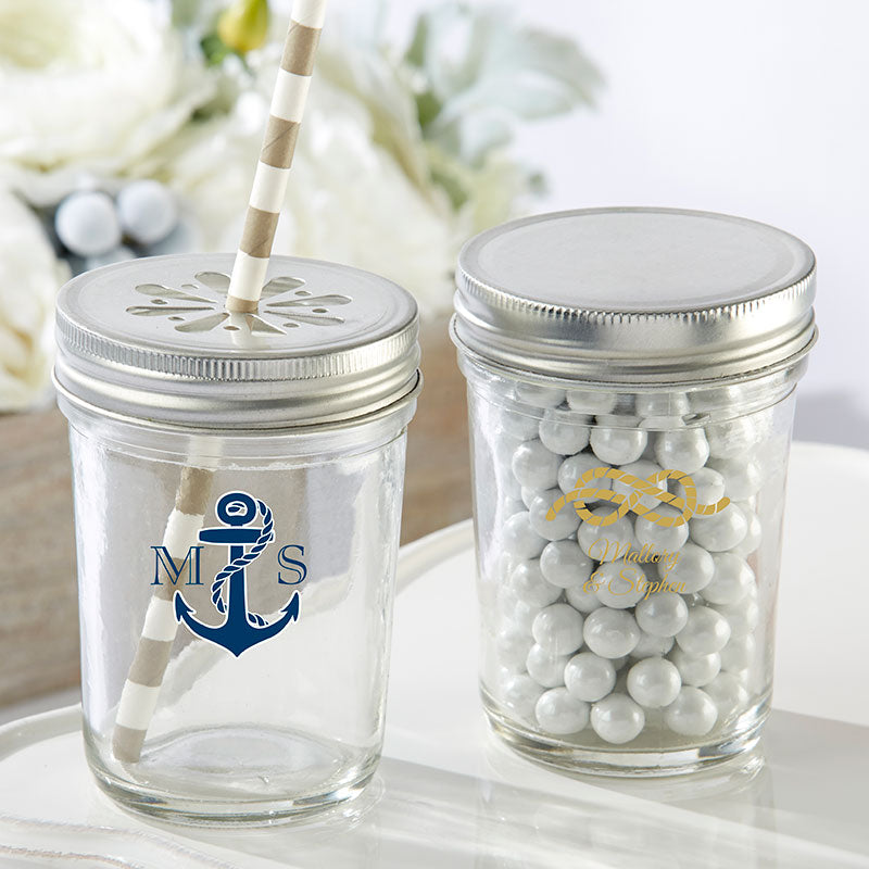 Personalized Printed 8 oz. Glass Mason Jar - Nautical Wedding (Set of 12)