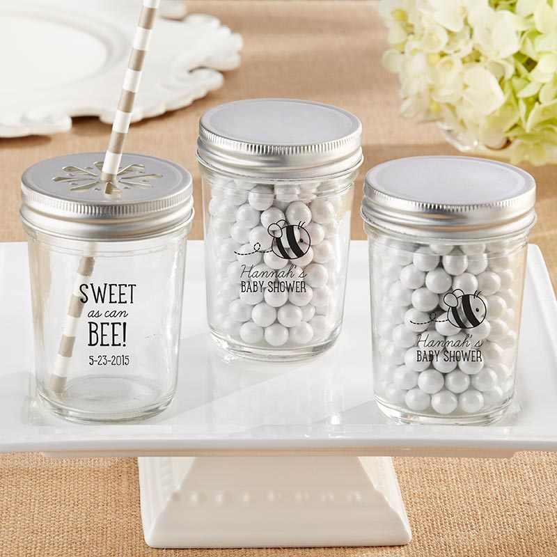 Personalized 8 oz. Printed Glass Mason Jar - Sweet as can Bee (Set of 12)