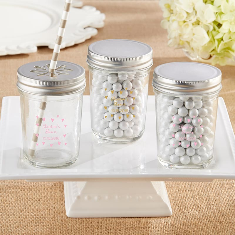 Personalized Printed 8 oz. Glass Mason Jar - Sweet Heart (Set of 12)