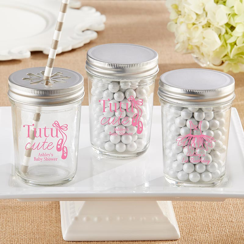 Personalized Printed 8 oz. Glass Mason Jar - Tutu Cute (Set of 12)