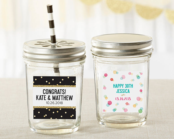 Personalized 8 oz. Glass Mason Jar - Party Time (Set of 12)
