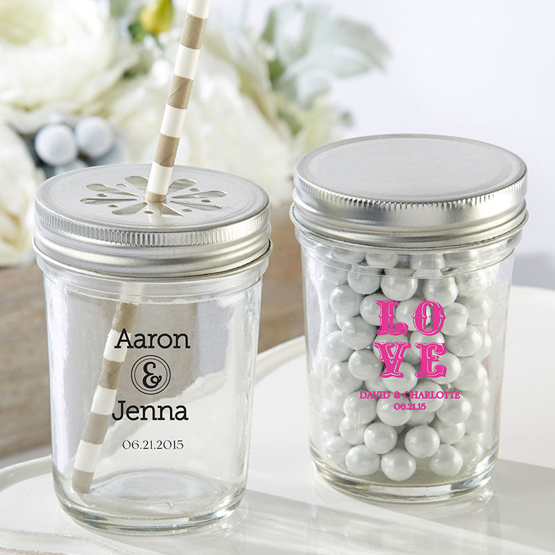 Load image into Gallery viewer, Personalized Printed 8 oz. Glass Mason Jar - Wedding (Set of 12)