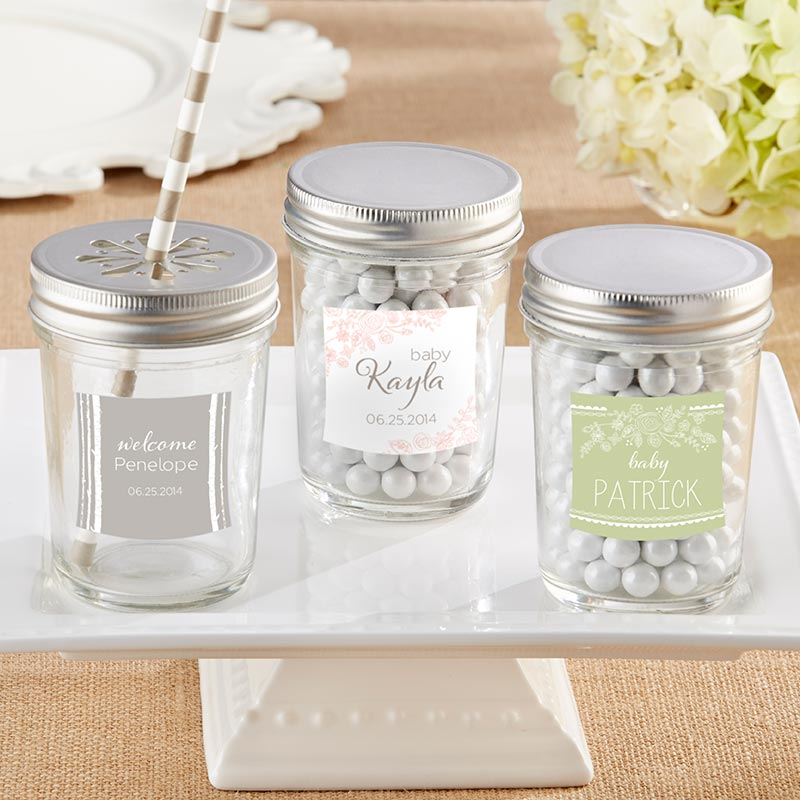 Personalized 8 oz. Glass Mason Jar - Rustic Baby Shower (Set of 12)
