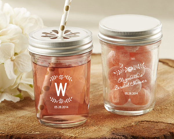 Personalized Printed 8 oz. Glass Mason Jar - Rustic Bridal Shower (Set of 12)