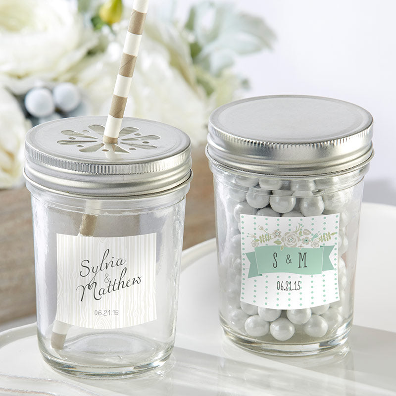 Personalized 8 oz. Glass Mason Jar - Rustic Wedding (Set of 12)