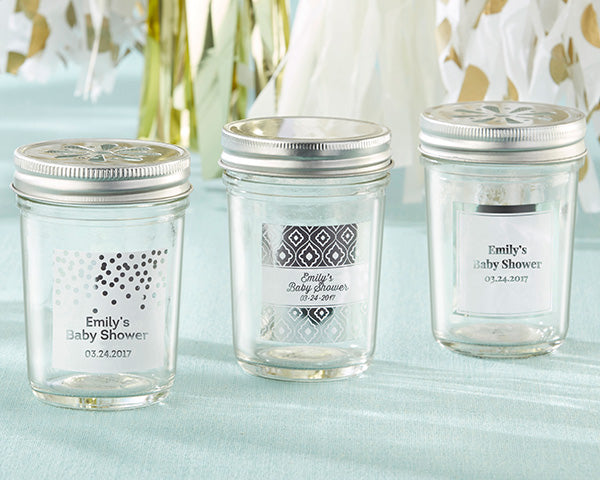 Load image into Gallery viewer, Personalized 8 oz. Glass Mason Jar - Silver Foil (Set of 12)
