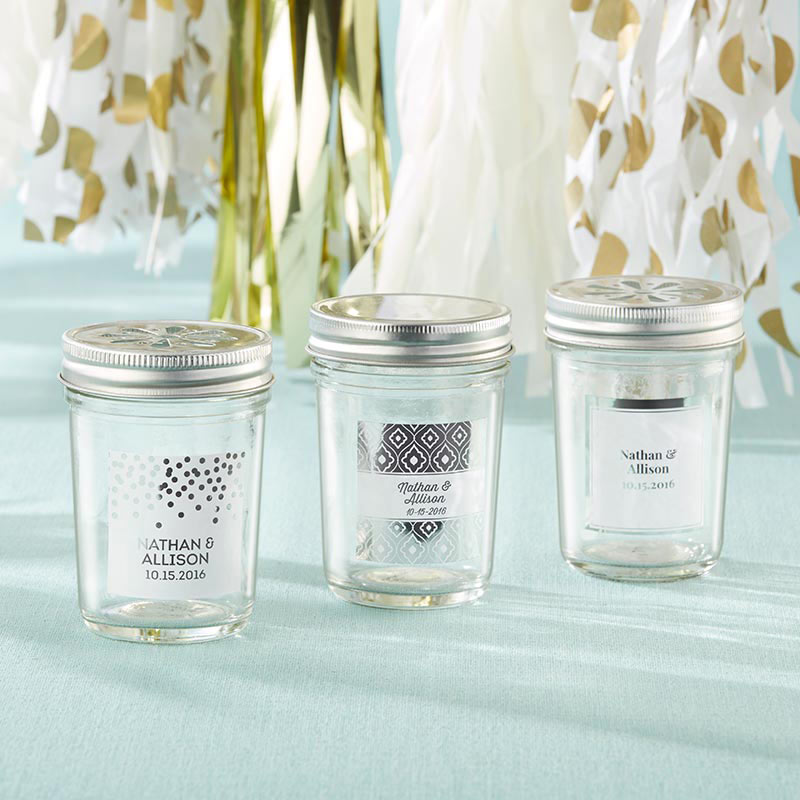 Personalized 8 oz. Glass Mason Jar - Silver Foil (Set of 12)
