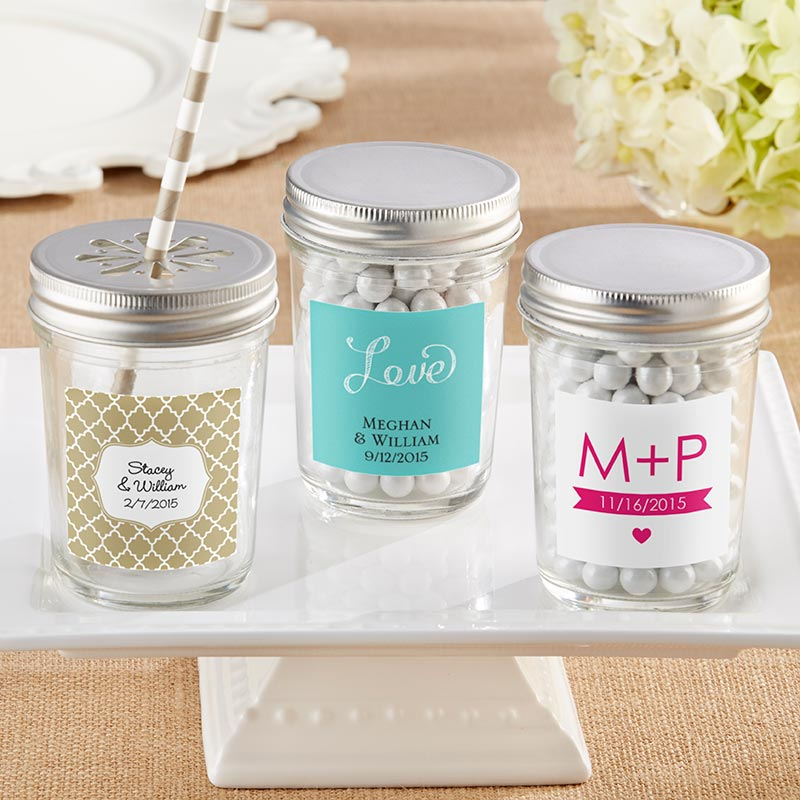 Personalized 8 oz. Glass Mason Jar - Wedding (Set of 12)