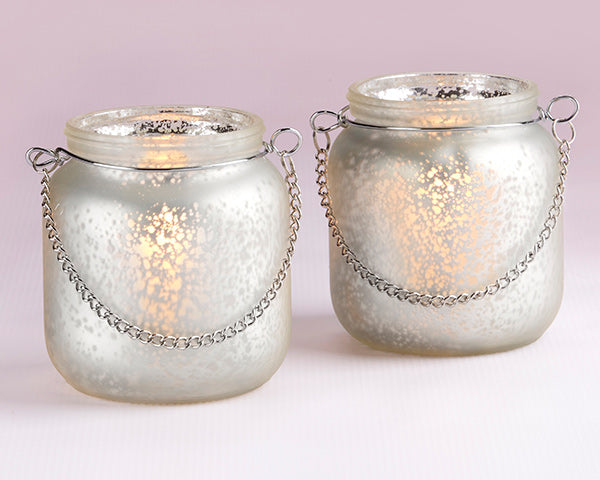 Light Champagne Frosted Mercury Glass Hanging Lantern