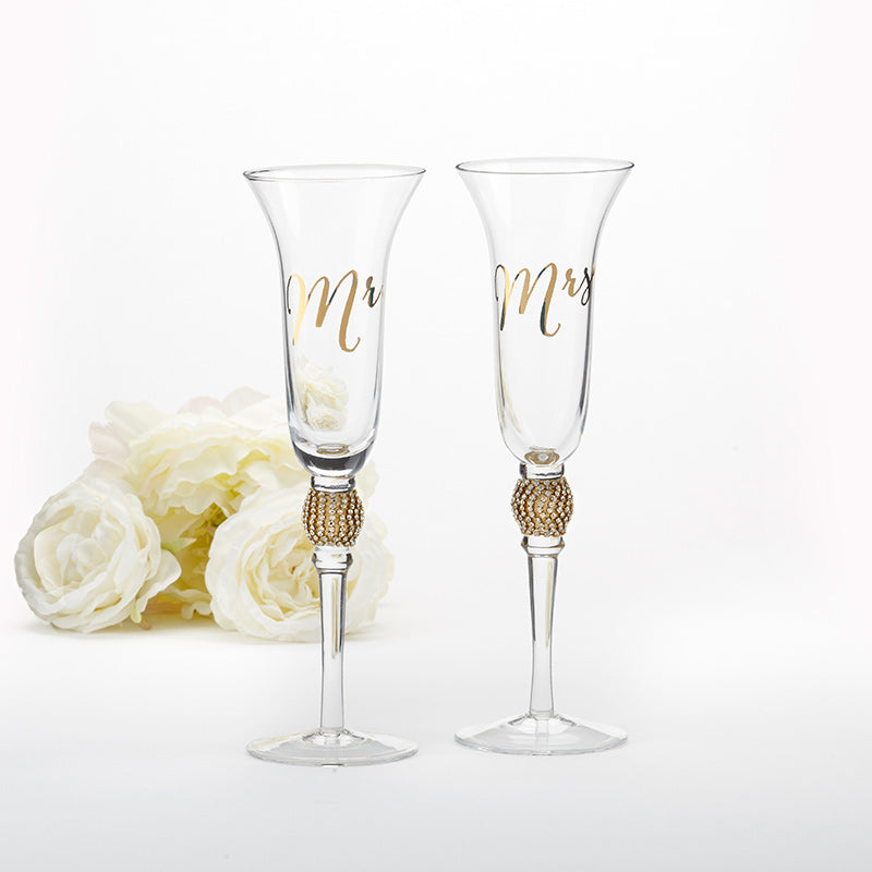 Gold Glitter & Rhinestone Mr. & Mrs. Toasting Flutes