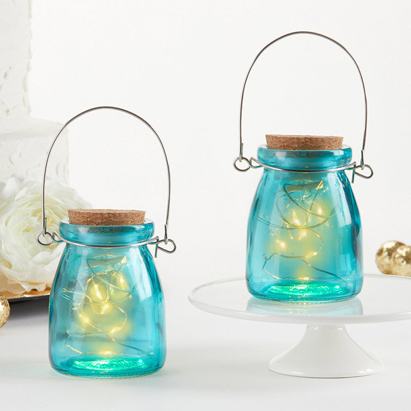 Hanging Blue Jar With Fairy Lights (Set of 4)