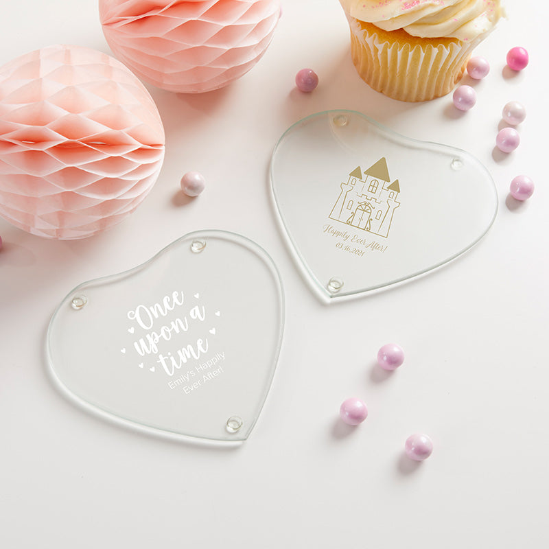 Personalized Glass Heart Shaped Coaster - Princess Party (Set of 12)