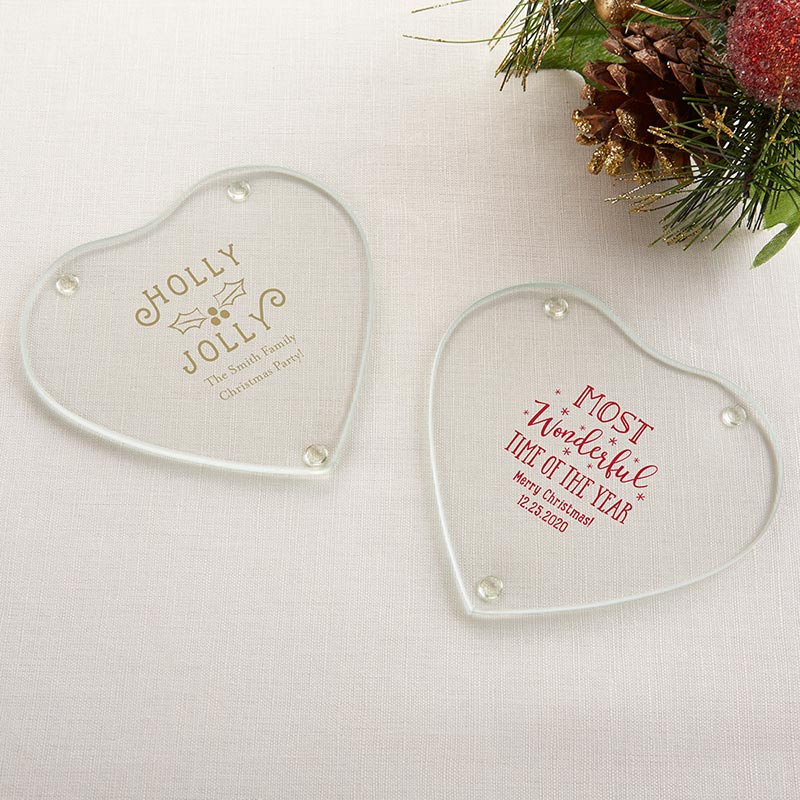Personalized Glass Heart Shaped Coaster - Holiday (Set of 12)
