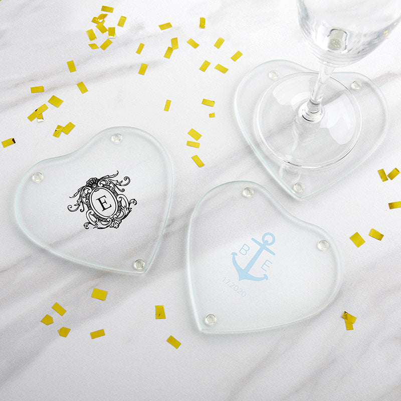 Personalized Glass Heart Shaped Coaster - Monogram (Set of 12)