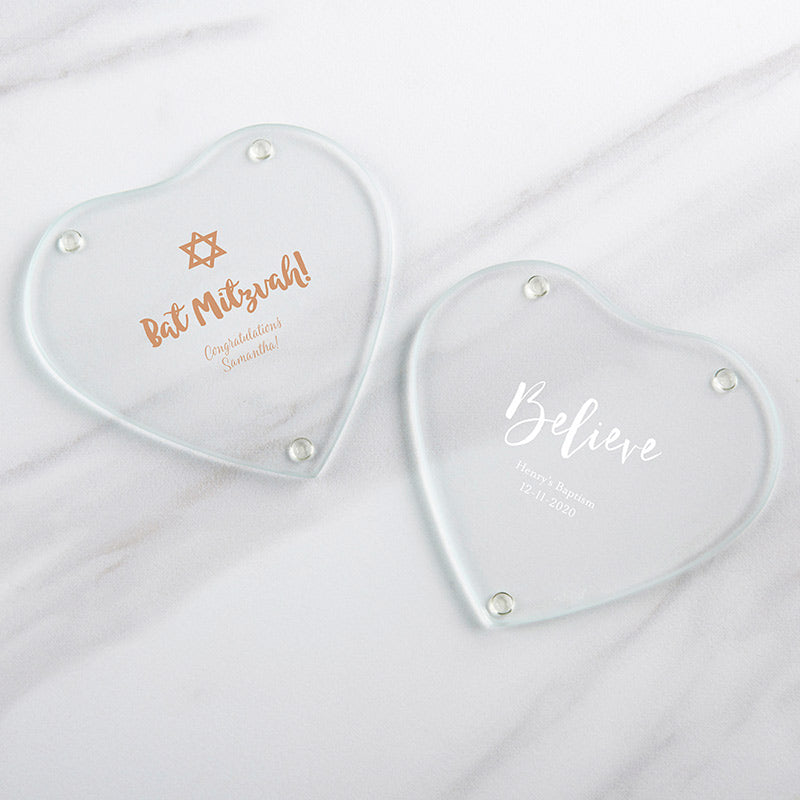 Personalized Glass Heart Shaped Coaster - Religious (Set of 12)