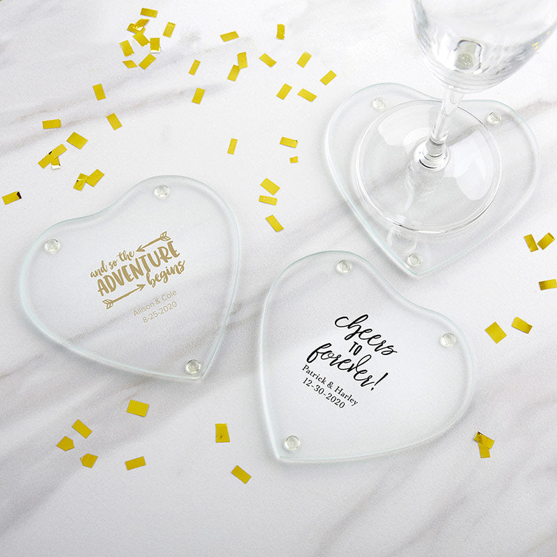 Personalized Glass Heart Shaped Coaster - Wedding (Set of 12)