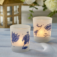 Load image into Gallery viewer, Blue Willow Frosted Glass Votive (Set of 4)
