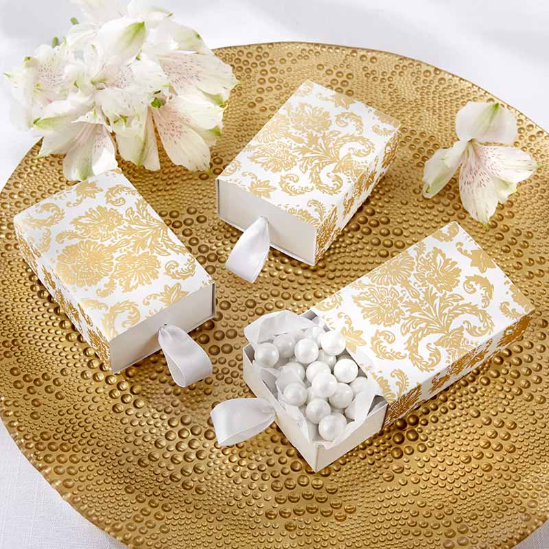 Treasures Gold Damask Favor Box (Set of 24) (Available Personalized)
