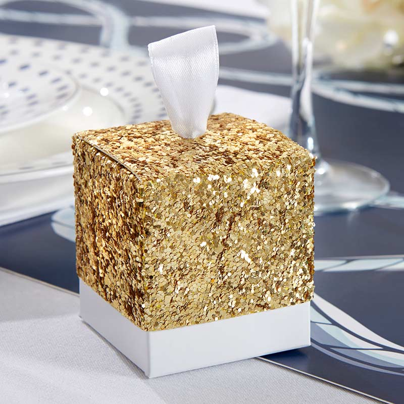 All That Glitters Gold Glitter Favor Box (Set of 24)
