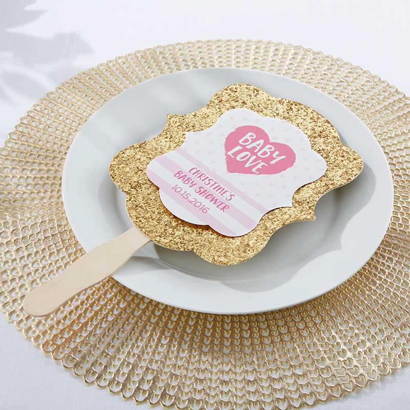 Personalized Gold Glitter Hand Fan - Baby Love (Set of 12)