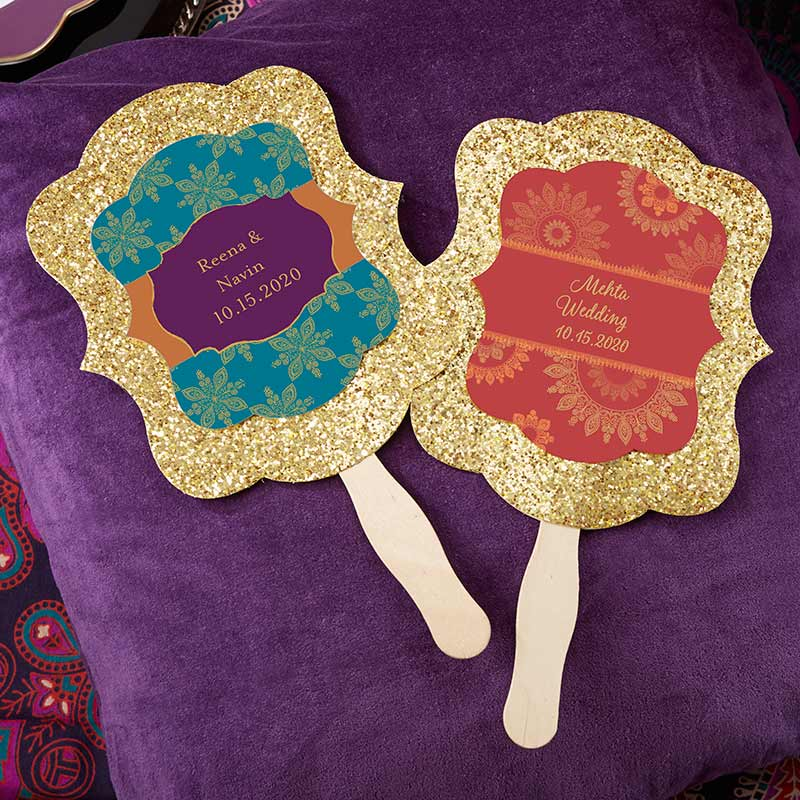 Personalized Gold Glitter Hand Fan - Indian Jewel (Set of 12)