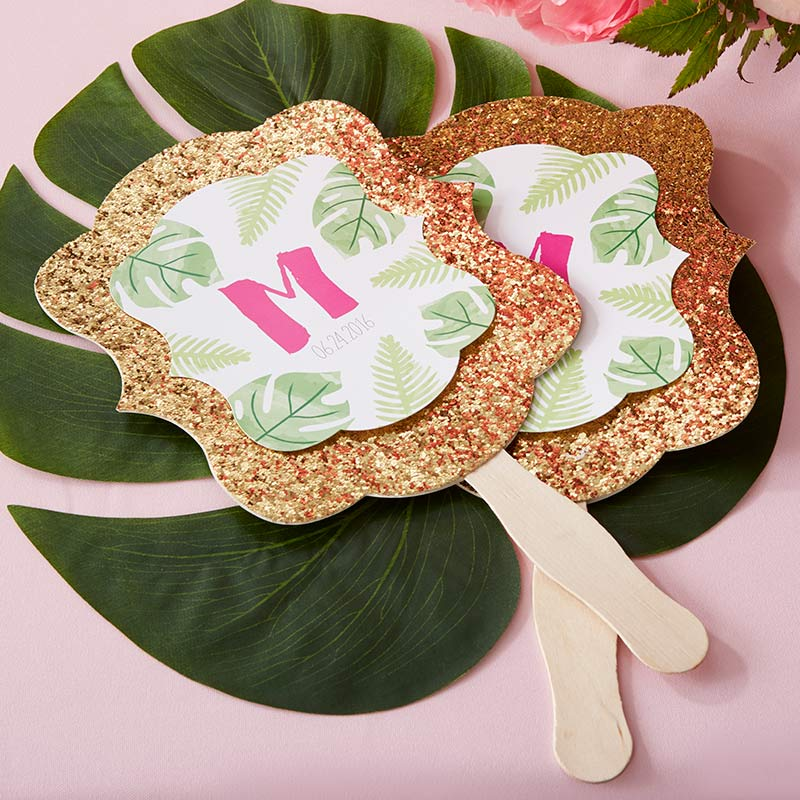 Personalized Gold Glitter Hand Fan - Pineapples & Palms